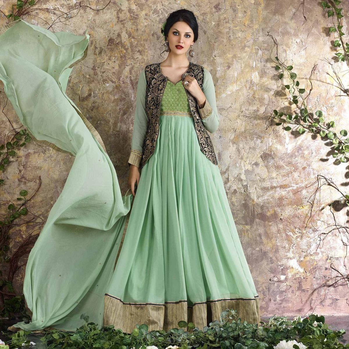 Sea Green Floor Length Suit with Jacket