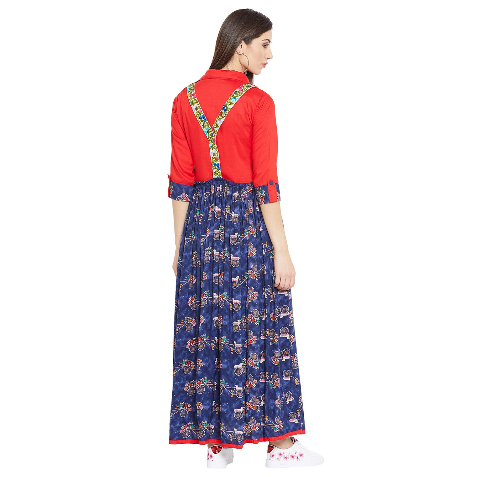 Intricate Blue-Red Colored Party Wear Printed Ankle Length Rayon Long Kurti