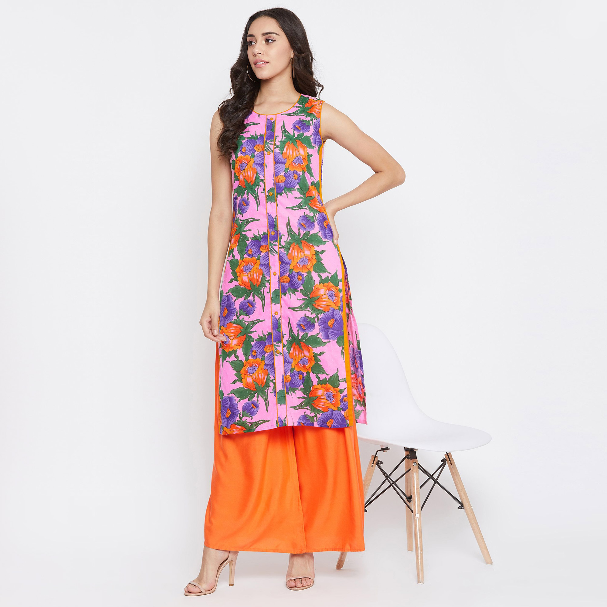 Desirable Pink Colored Casual Wear Printed Calf Length Cotton Kurti