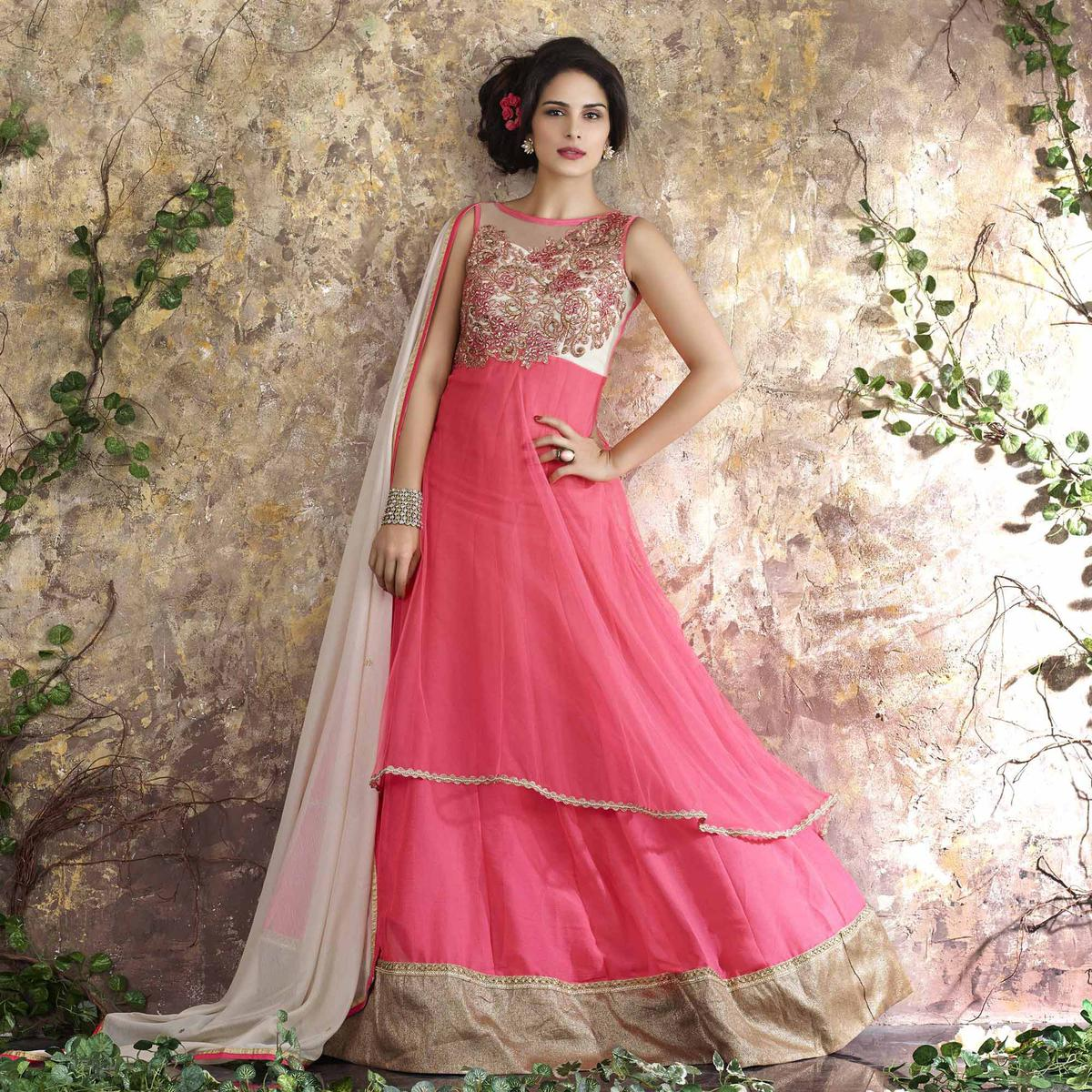 Pink Thread Embroidered Work Party Wear Suit