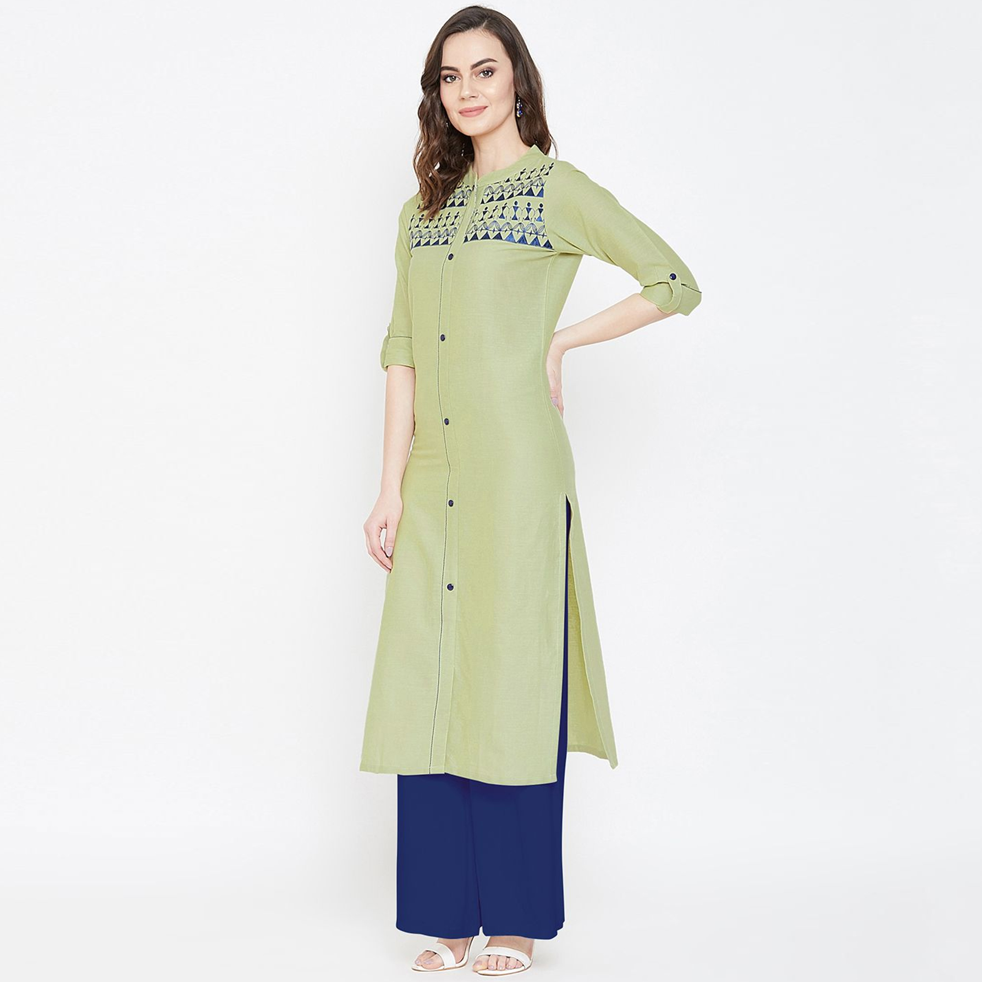 Trendy Light Olive Green Colored Casual Wear Embroidered Calf Length Cotton Kurti