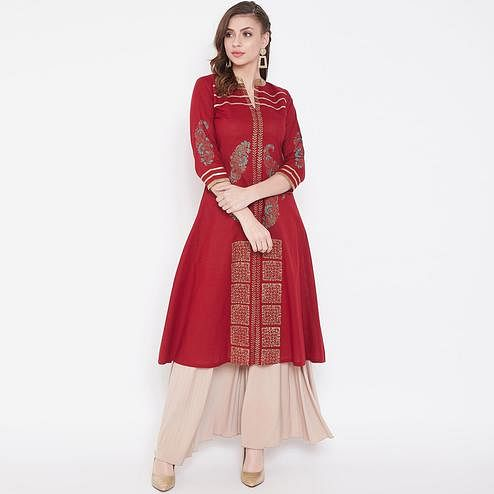 Elegant Maroon Colored Casual Wear Printed Calf Length A-Line Cotton Kurti