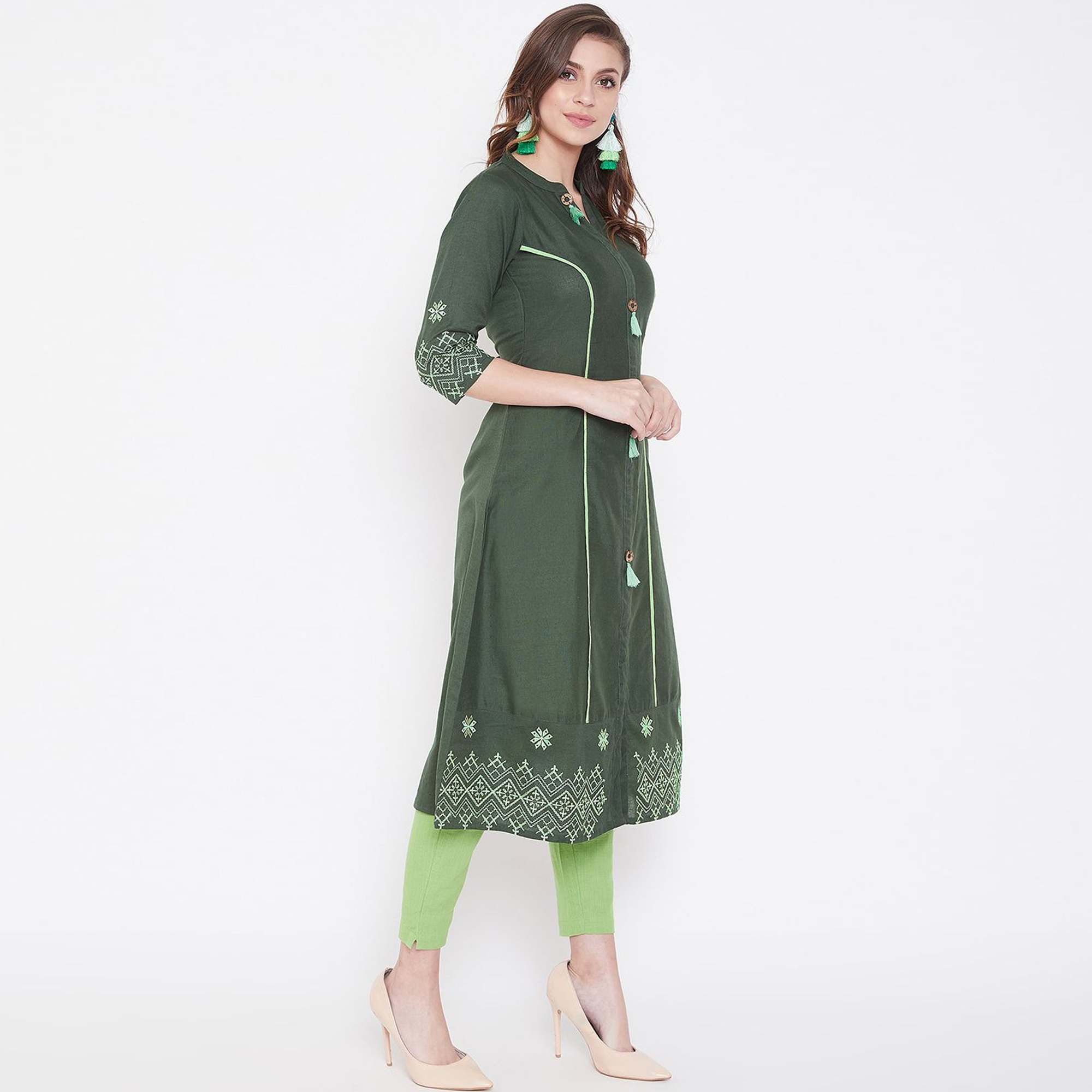 Radiant Dark Green Colored Casual Wear Embroidered Calf Length A-Line Cotton Kurti
