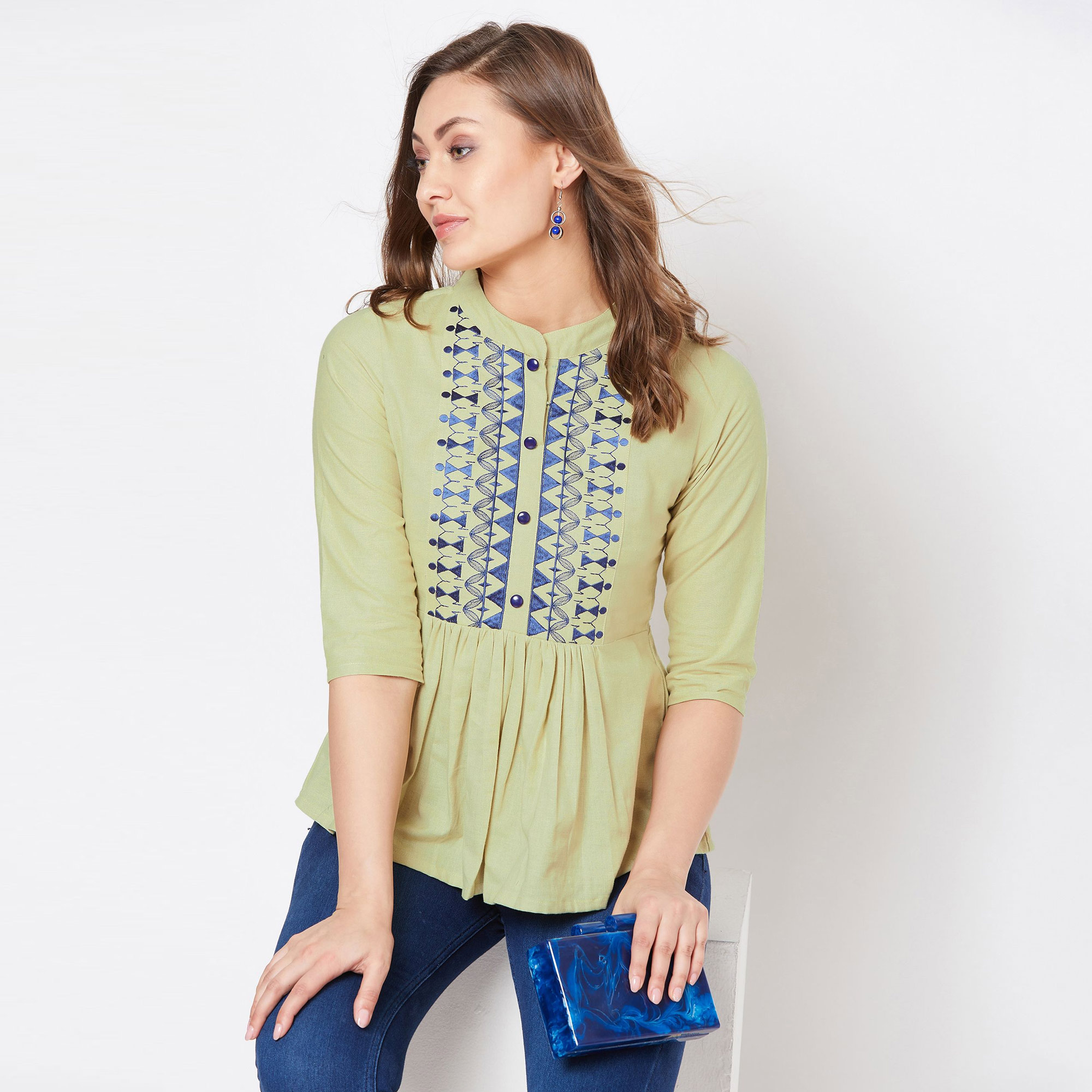 Pleasant Light Olive Green Colored Casual Wear Embroidered Cotton Top