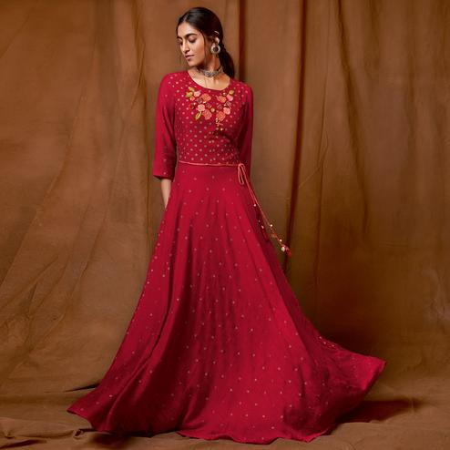 Prominent Red Colored Partywear Embroidered-Foil Printed Silk Gown