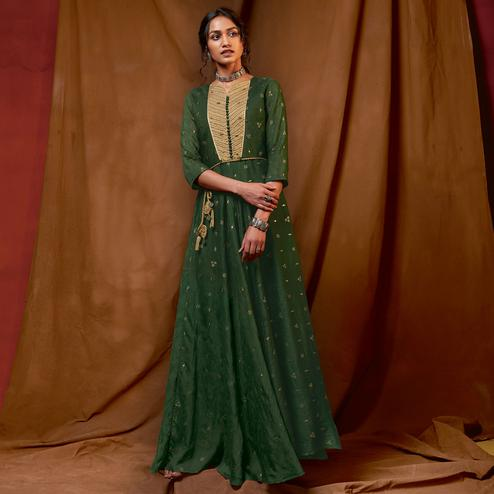Capricious Green Colored Partywear Embroidered-Foil Printed Silk Gown
