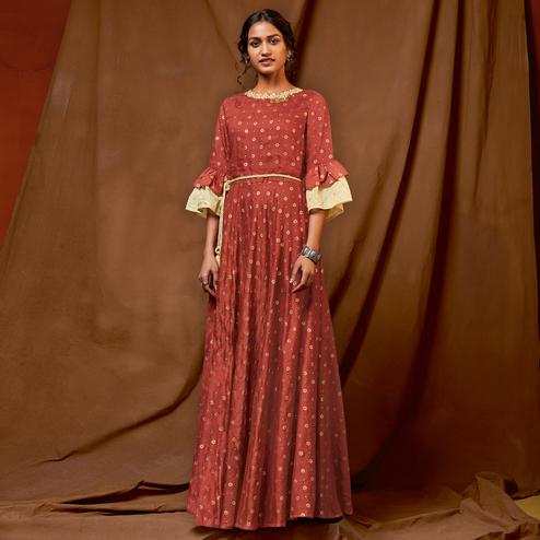 Entrancing Brown Colored Partywear Embroidered-Foil Printed Silk Gown