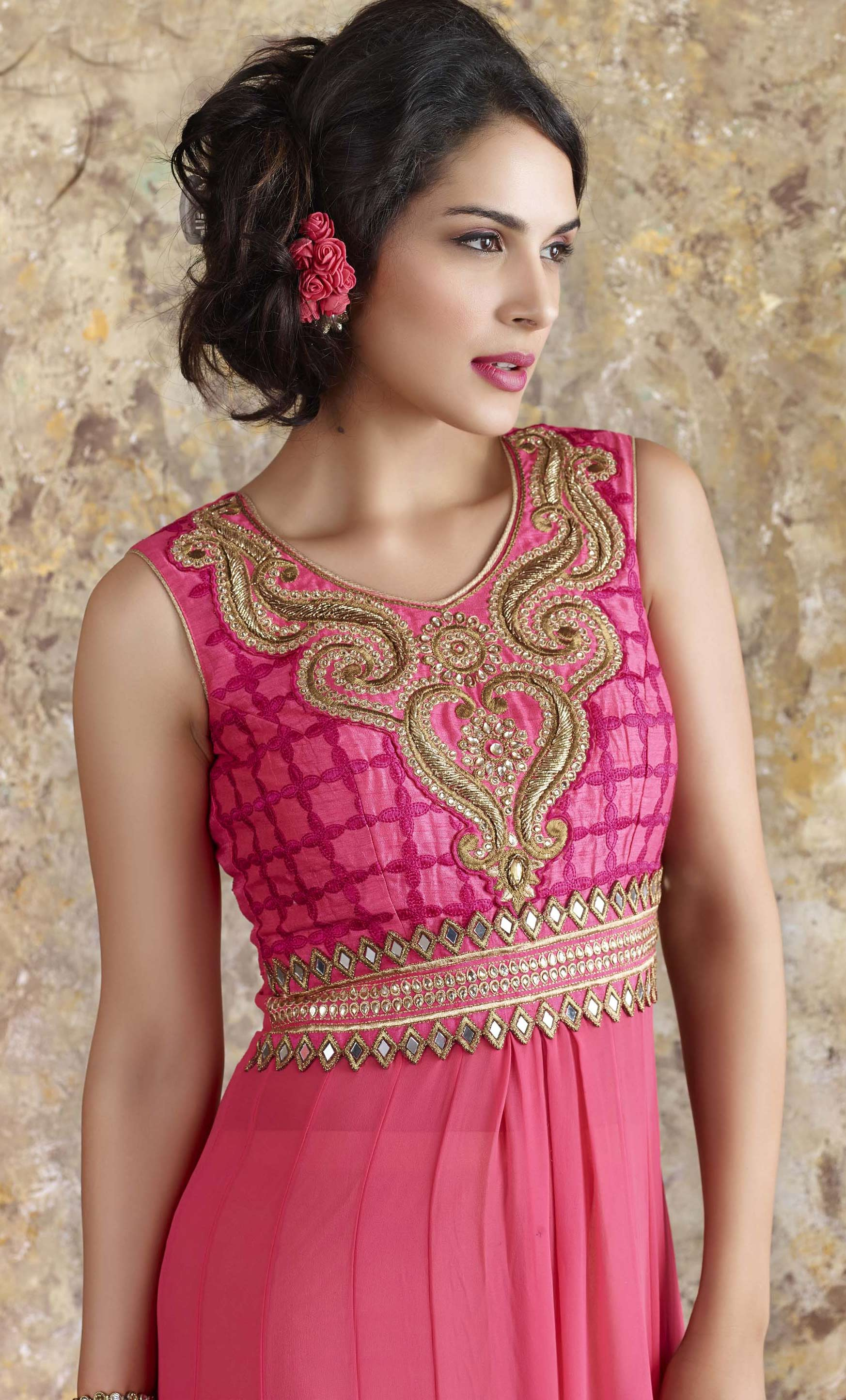 Pink Embroidered Work Front Slit Suit