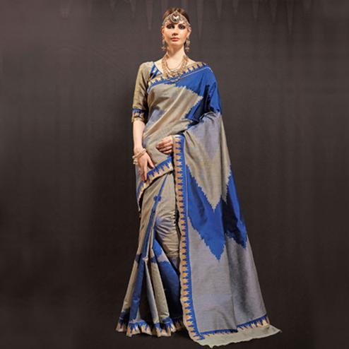 Blue - Grey Ikat Design Silk Saree