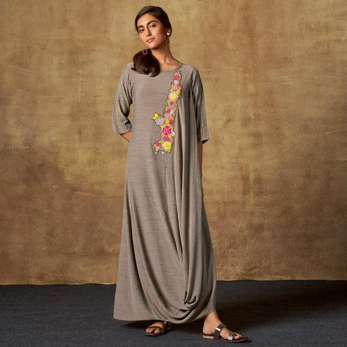 Intricate Grey Colored Party Wear Embroidered Viscose-Chiffon Long Kurti