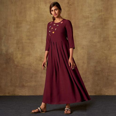 Desirable Wine Colored Party Wear Embroidered Viscose-Chiffon Long Kurti
