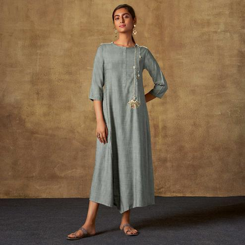 Exotic Grey Colored Party Wear Embroidered Viscose Long Kurti