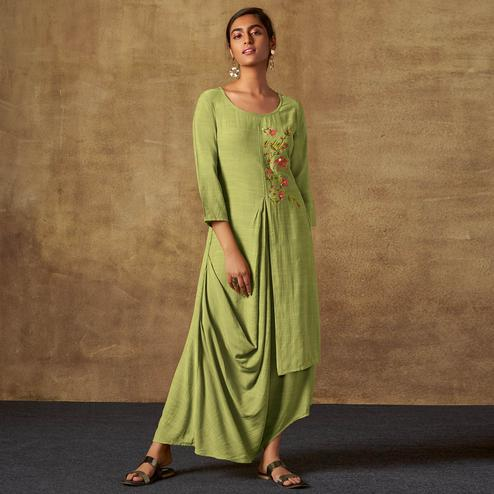 Elegant Light Olive Green Colored Party Wear Embroidered Viscose-Chiffon Long Kurti