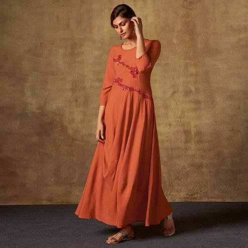 Radiant Rust Orange Colored Party Wear Embroidered Viscose-Chiffon Long Kurti