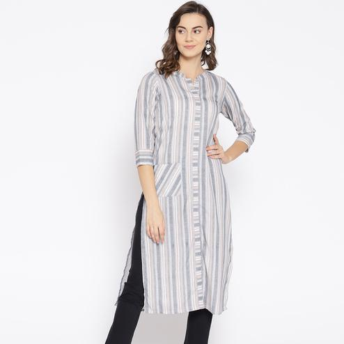 Adorable Grey Colored Casual Wear Stripes Printed Pocket Style Crepe Kurti