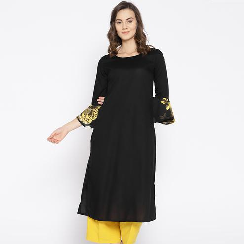 Glorious Black Colored Casual Wear Flared Sleeves Rayon Kurti
