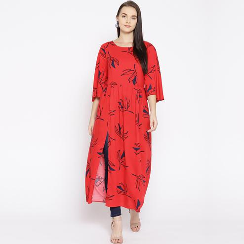 Attractive Red Colored Casual Wear Floral Printed Rayon Kurti