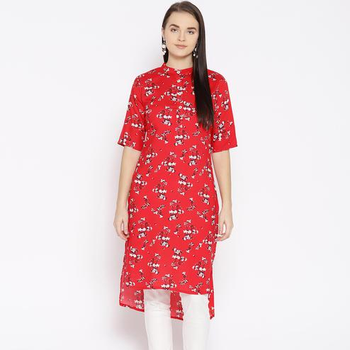 Blooming Red Colored Casual Wear Floral Printed Rayon Kurti