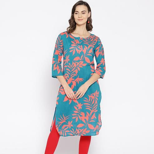 Charming Blue Colored Casual Floral Printed Cotton Kurti