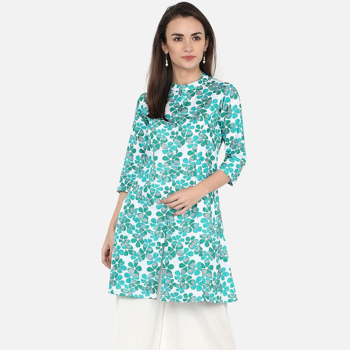 Jazzy White-Aqua Green Colored Casual Floral Printed Cotton Kurti