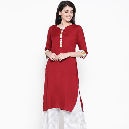 Delightful Maroon Colored Casual Wear Rayon Kurti