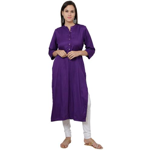 Captivating Purple Colored Casual Wear Rayon Kurti
