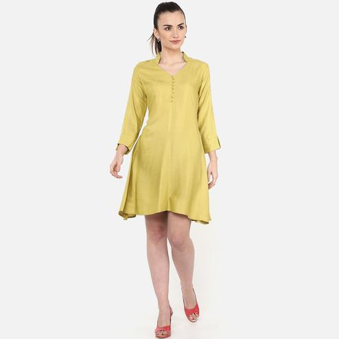 Innovative Olive Colored Casual Wear Rayon Dress