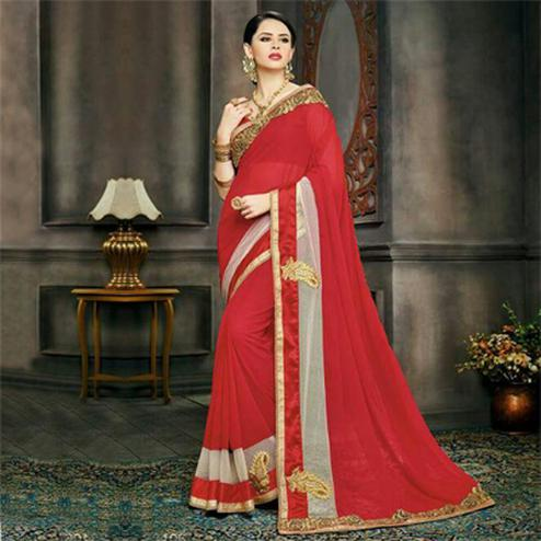 Red Embroidered Work Georgette Saree