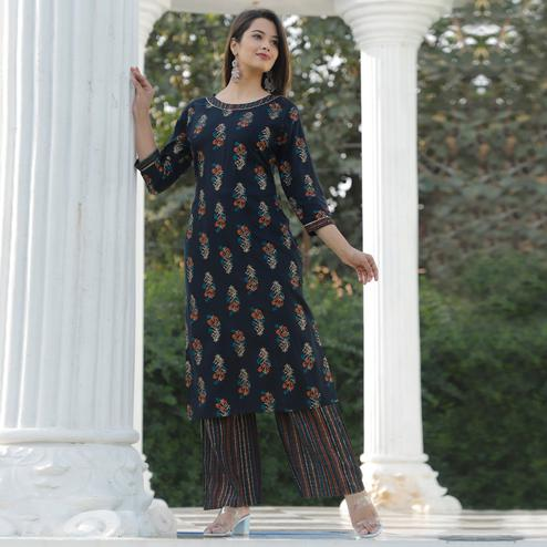 Trendy Black Colored Casual Floral Printed Rayon Kurti-Palazzo Set