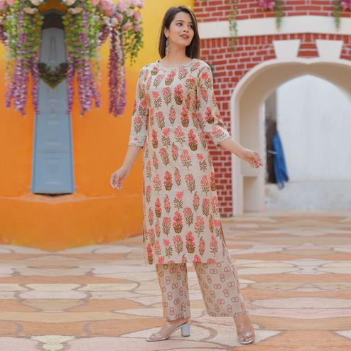 Elegant Cream Colored Casual Floral Printed Rayon Kurti-Palazzo Set