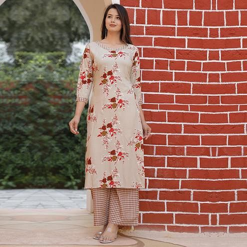 Radiant Cream Colored Casual Floral Printed Rayon Kurti-Palazzo Set
