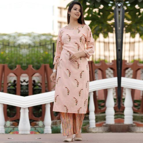 Pleasant Peach Colored Casual Floral Printed Rayon Kurti-Palazzo Set