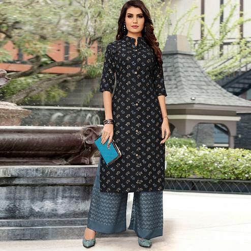 Innovative Black Colored Partywear Printed Rayon Kurti-Palazzo Set