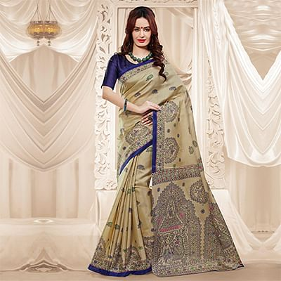 Beige Traditional Printed Saree