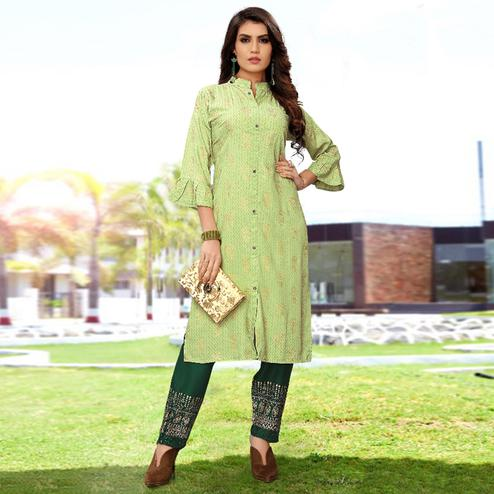 Eye-catching Pista Green Colored Partywear Printed Rayon Kurti-Palazzo Set
