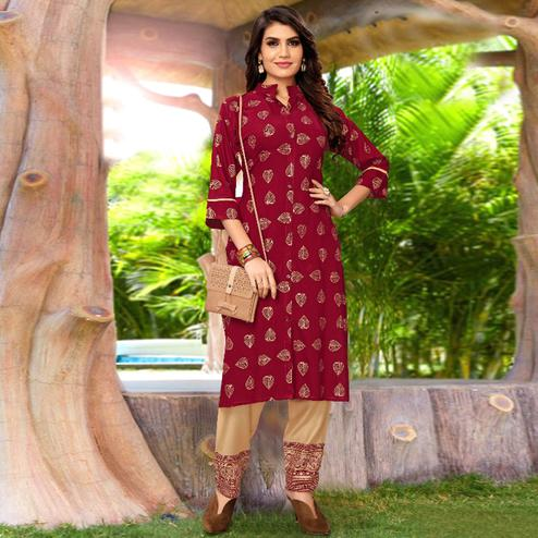 Gorgeous Maroon Colored Partywear Printed Rayon Kurti-Palazzo Set
