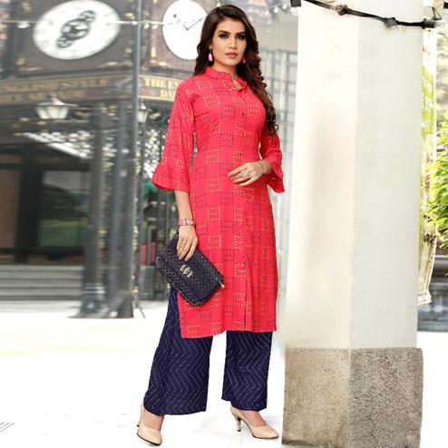 Lovely Red Colored Partywear Printed Rayon Kurti-Palazzo Set