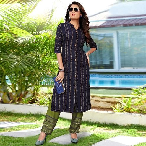 Impressive Navy Blue Colored Partywear Printed Rayon Kurti-Palazzo Set