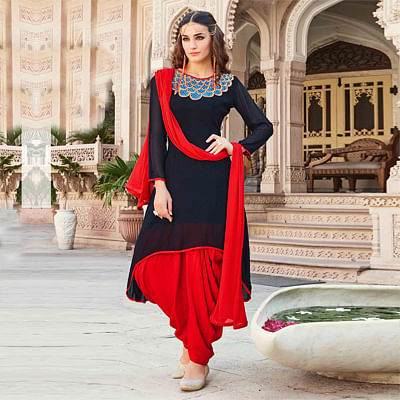 Black - Red Embroidered Work Patiala Suit