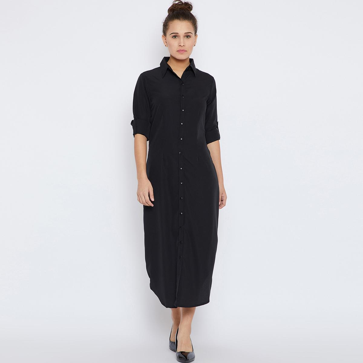Glorious Black Colored Casual Wear Crepe Button Down Shirt Dress With Roll Up Sleeve