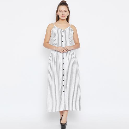 Attractive White Colored Casual Wear Stripe Printed Crepe Button Down Shirt Dress