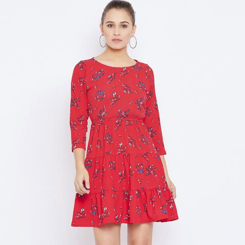 Graceful Red Colored Casual Wear Printed Crepe Empire Dress