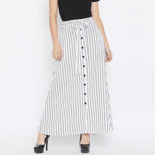 Delightful White Colored Casual Wear Stripe Printed Crepe Button Down A-Line Skirt