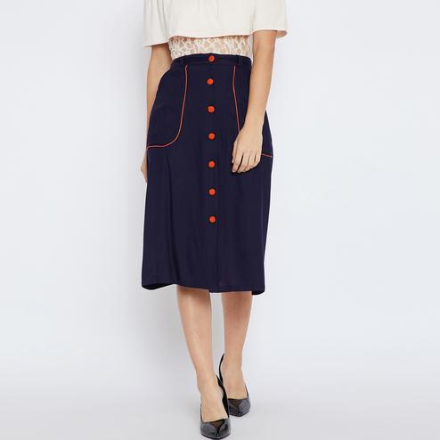 Engrossing Navy Blue Colored Casual Wear Solid Button Down A-Line Skirt