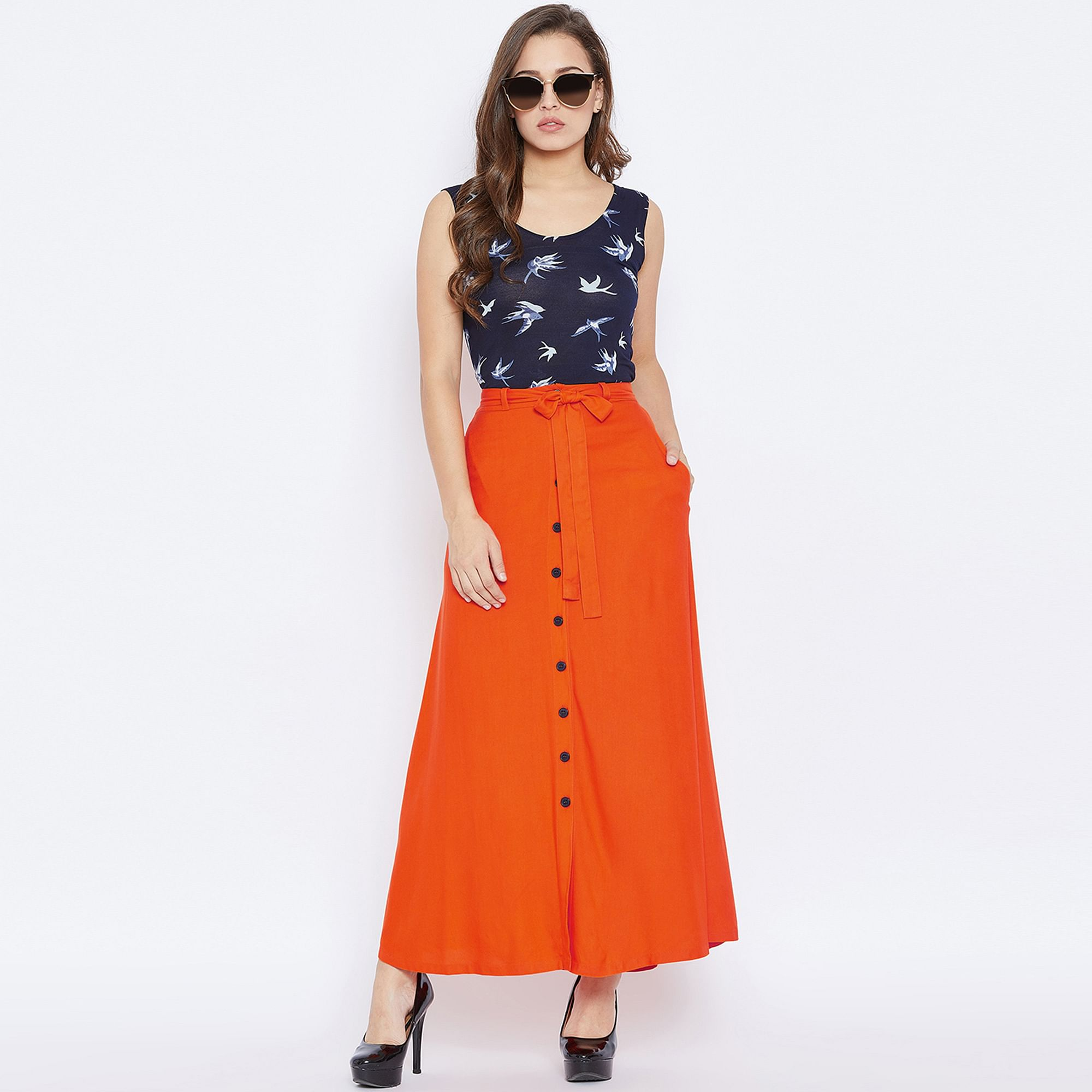 Captivating Orange Colored Casual Wear Solid Button Down A-Line Skirt