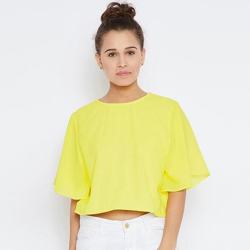 Innovative Yellow Colored Casual Wear Solid Georgette Crop Top