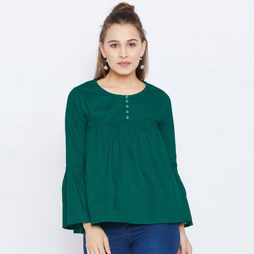 Amazing Green Colored Casual Wear Gathered With Bell Sleeves Rayon Top