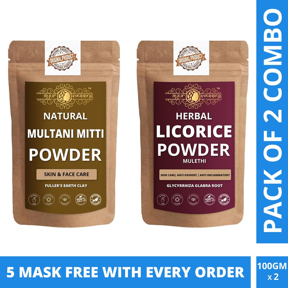 Ayur Blessing - Multani Mitti and Licorice Powder Combo Pack - Face Mask (100 Gram * 2) With Free Masks