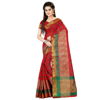 Red Poly Cotton Jacquard Saree