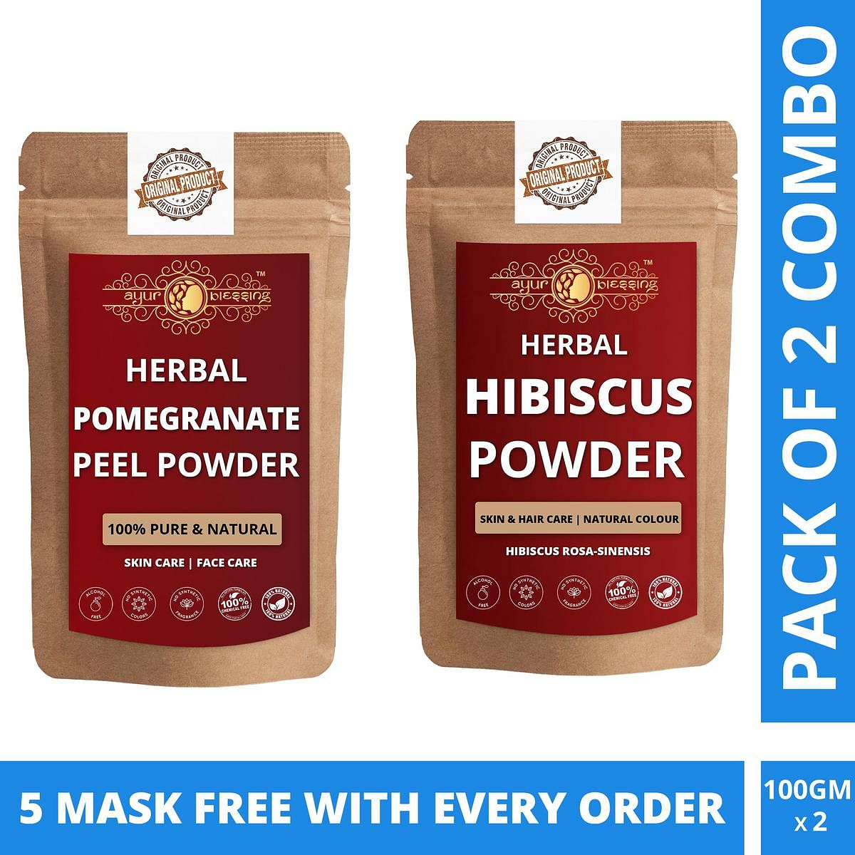Ayur Blessing - Pomegranate Peel and Hibiscus Powder Combo Pack - Face Mask (100 Gram * 2) With Free Masks